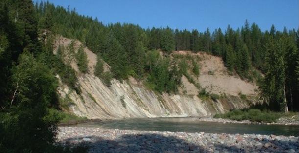 A formação rochosa no Montana, próximo do Glacier National Park (EUA), onde o espécimen foi encontrado