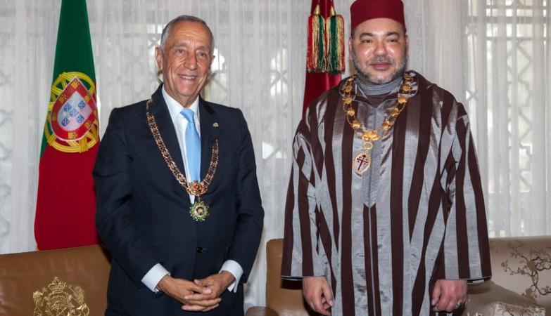 O presidente de Portugal, Marcelo Rebelo de Sousa na visita a Marrocos, onde foi recebido pelo Rei Mohamed VI - foto que foi usada no vídeo do Daesh