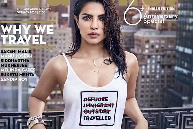 Priyanka Chopra na capa da edição indiana da revista Traveller