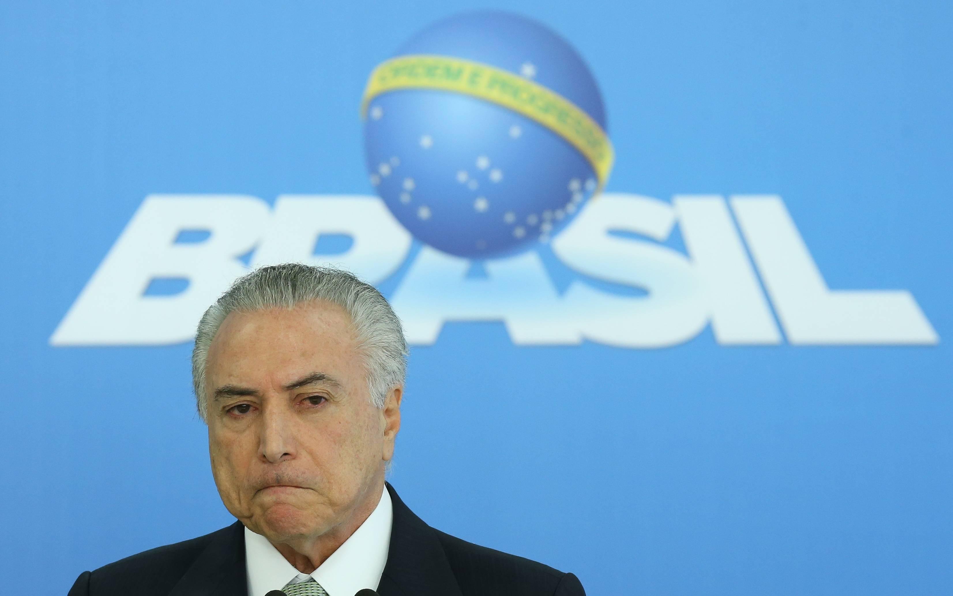 Michel Temer durante pronunciamento a imprensa em Brasília