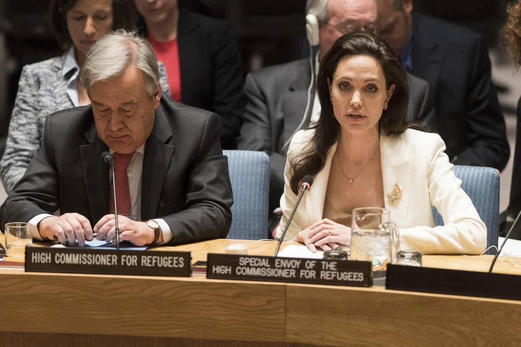 António Guterres foi Alto Comissário das Nações Unidas para os Refugiados. A seu lado, Angelina Jolie, sua Enviada Especial para os Refugiados