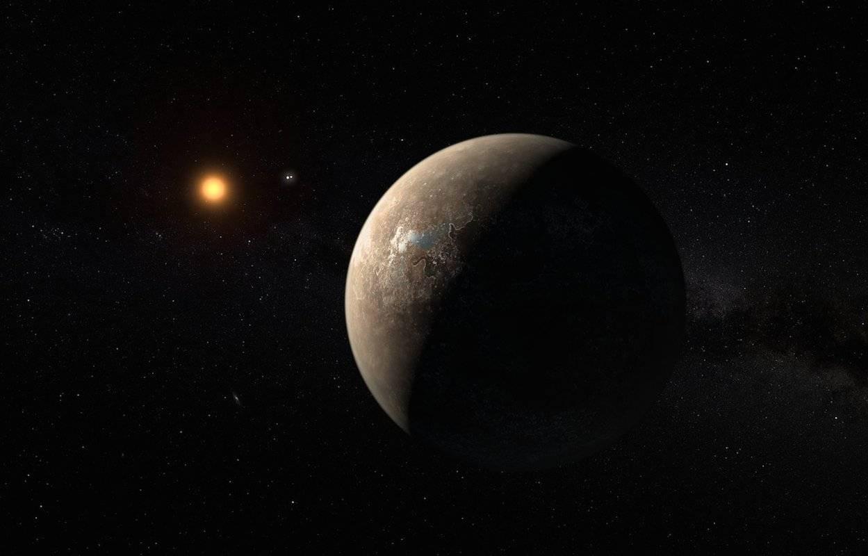 Conceito artístico do planeta Próxima b em órbita de sua estrela, Próxima Centauri