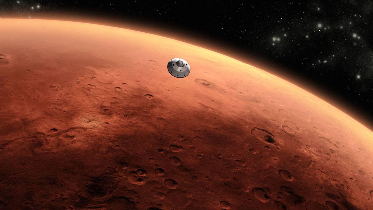 Curiosity / Mars Science Laboratory aproximando-se de Marte, conceito de artista