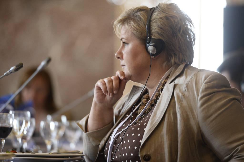 A primeira-ministra da Noruega, Erna Solberg