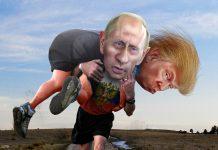 Donald trump nas costas de Vladimir Putin, por  Donkey Hotey