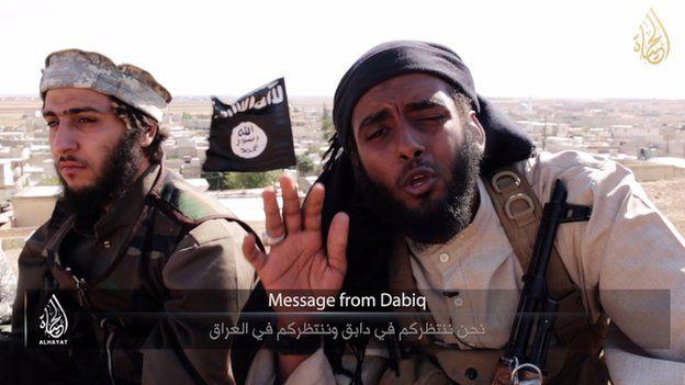 """""""Mensagem de Dabiq"""", vídeo do Estado Islâmico com a cidade de Dabiq ao fundo."""
