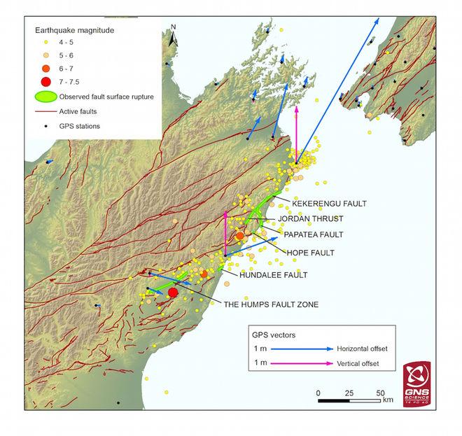 """Um novo mapa revela as 6 """"cicatrizes"""" do terremoto de dia 14 de novembro na Nova Zelândia"""