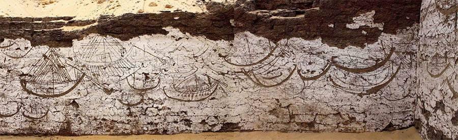 Mural de barcos egípcios com 3.800 anos