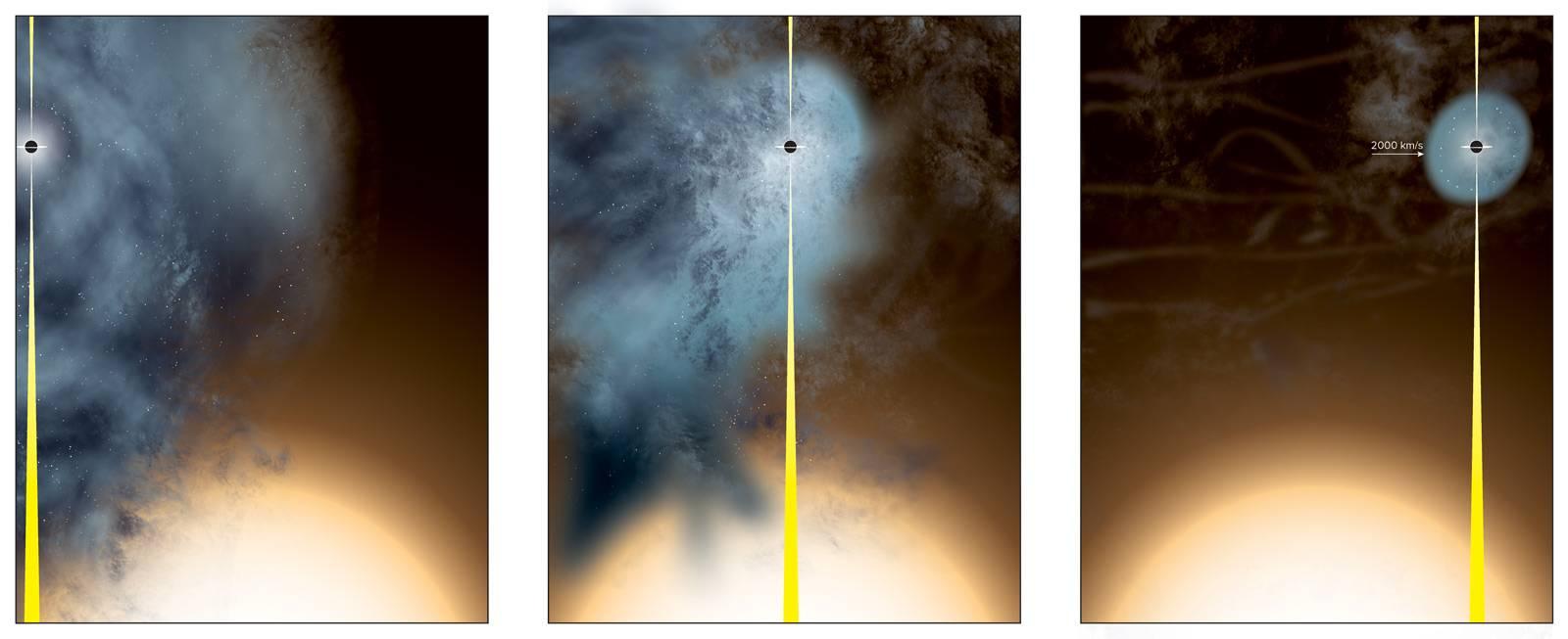 """Impressão de artista da origem do buraco negro supermassivo """"quase nu""""."""