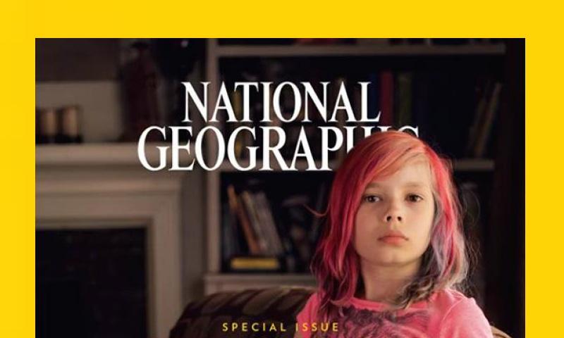 A menina transgênero Avery Jackson na capa da National Geographic
