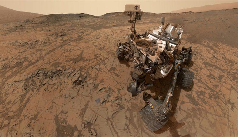 Rover Curiosity, da NASA, em Marte (conceito artístico)