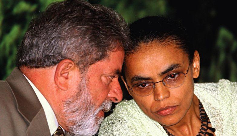 O ex-presidente Luiz Inácio Lula da Silva conversa com a ex-ministra do Meio Ambiente, Marina Silva