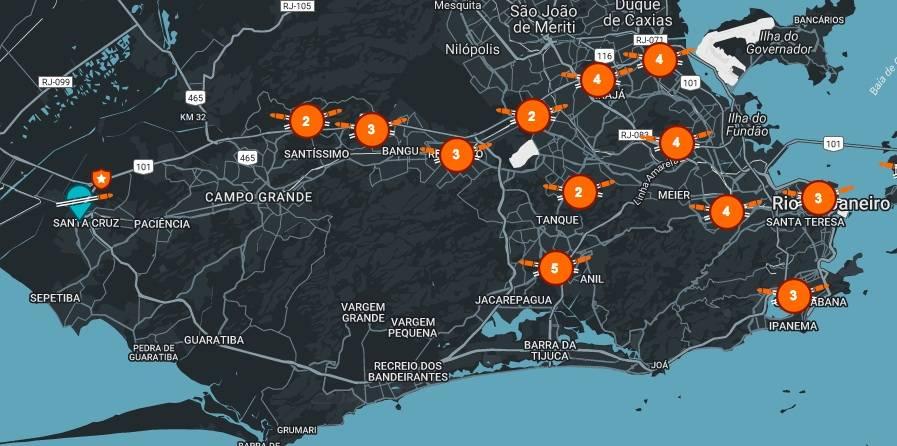 Mapeamento dos tiroteios no aplicativo Fogo Cruzado