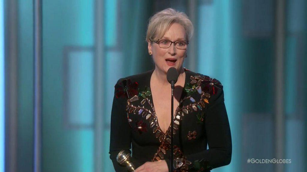 Meryl Streep na cerimónia de entrega do prémio Cecil B. Demille, nos Globos de Ouro 2016