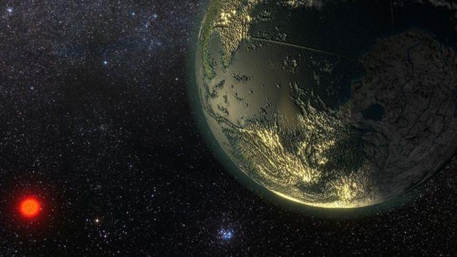 Ilustração de artista do planeta Gliese 411b (GJ 411b)