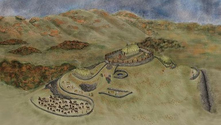 Reconstituição artística da antiga fortaleza do reino de Rheged
