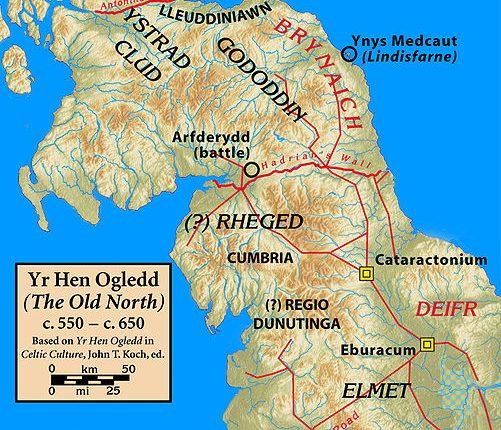 Yr Hen Ogledd (O Anigo Norte) c. 550 – c. 650, localização provável do reino de Rheged