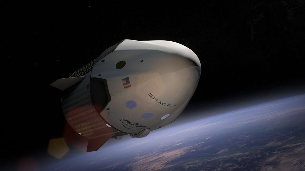 Uma cápsula Dragon V2 da SpaceX em órbita