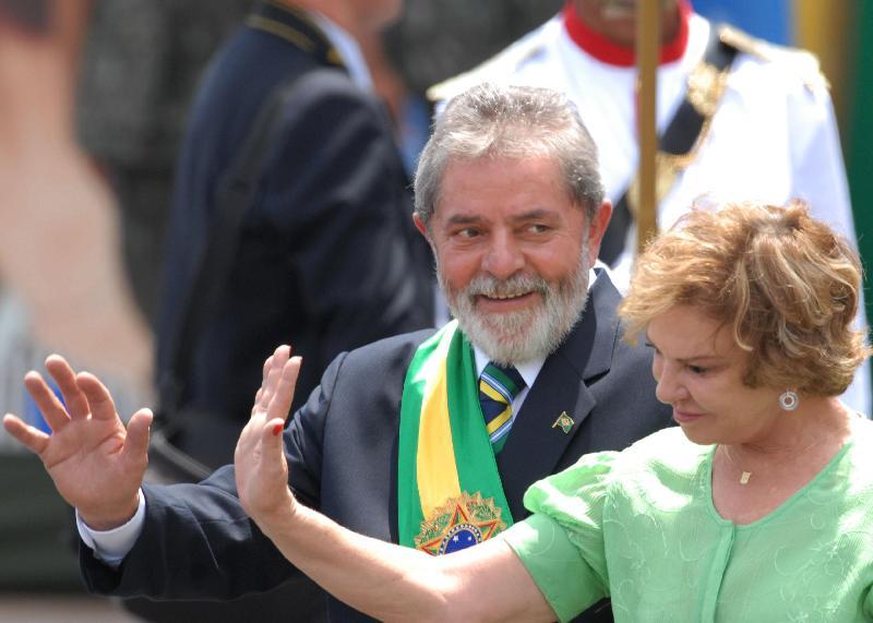 A ex-primeira dama Marisa Letícia com o ex-presidente Lula da Silva