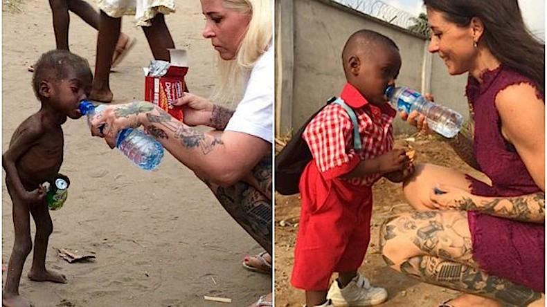 Há quase um ano Anja postou a foto do menino e, agora, publicou uma nova para mostrar como ele está recuperado