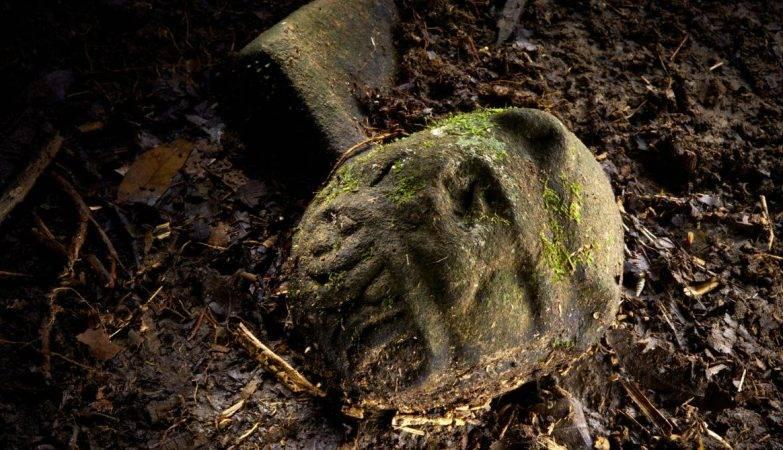 Efígie de um jaguar, uma das peças de pedra encontradas na região