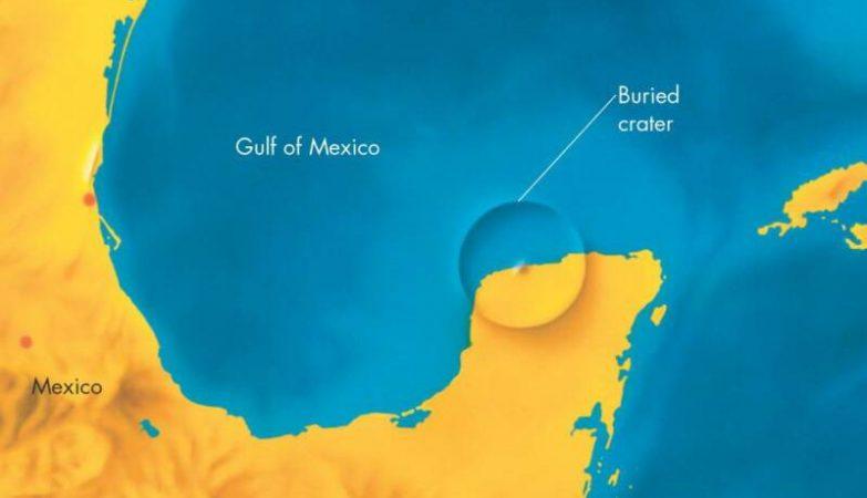 Localização da Cratera de Chicxulub, que extinguiu os dinossauros há 65 milhões de anos