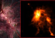 A estrela jovem está a sofrer um surto de crescimento intenso, brilhando quase 100 vezes do que antes e remodelando o seu berçário estelar