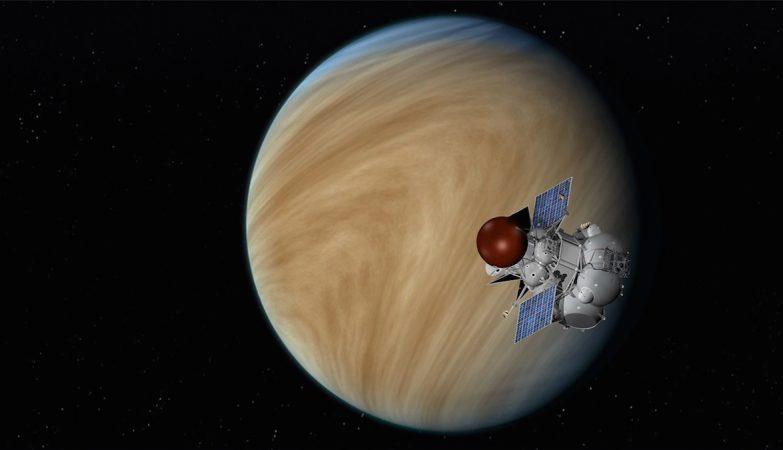 Conceito artístico da sonda russa  Venera-D na órbita de Vênus