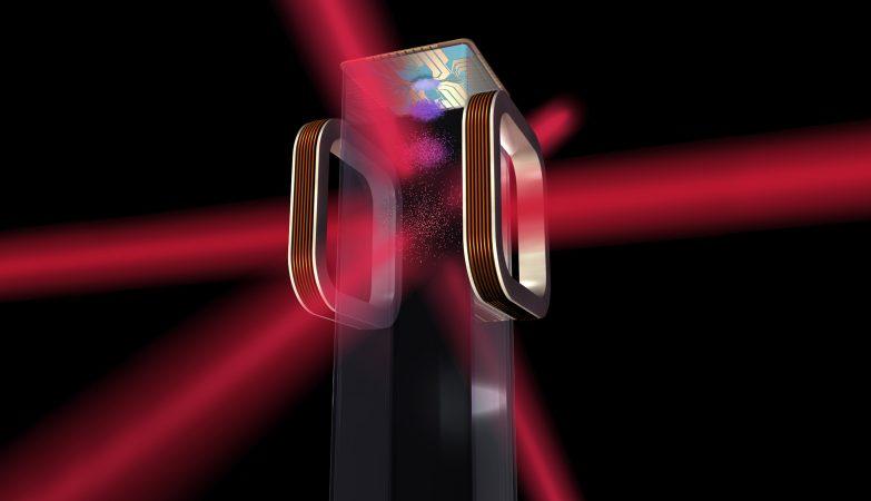Conceito artístico do chip atômico que o Laboratório de Átomos Frios da NASA vai usar na Estação Espacial Internacional
