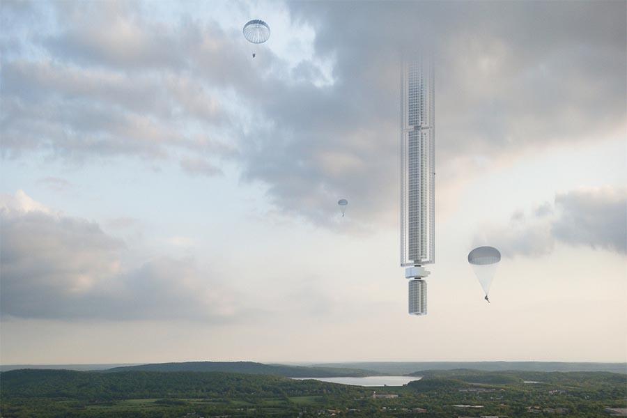 """A Torre Analemma, um arranha-céus de """"cabeça para baixo"""" e suspenso de um asteroide, é um projeto da Clouds Architecture Office"""