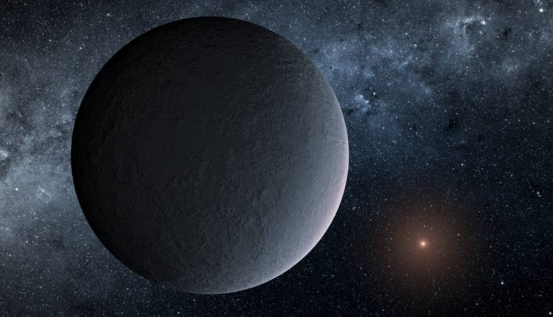 Impressão artística do OGLE-2016-BLG-1195Lb, planeta descoberto através de uma técnica chamada microlente gravitacional