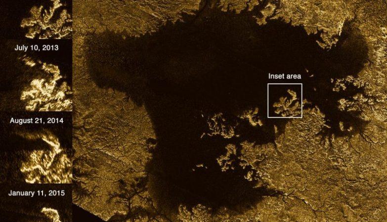 """À esquerda, as imagens mostram as imagens das """"ilhas mágicas"""" de Titã que desaparecem e emergem ao longo do tempo"""