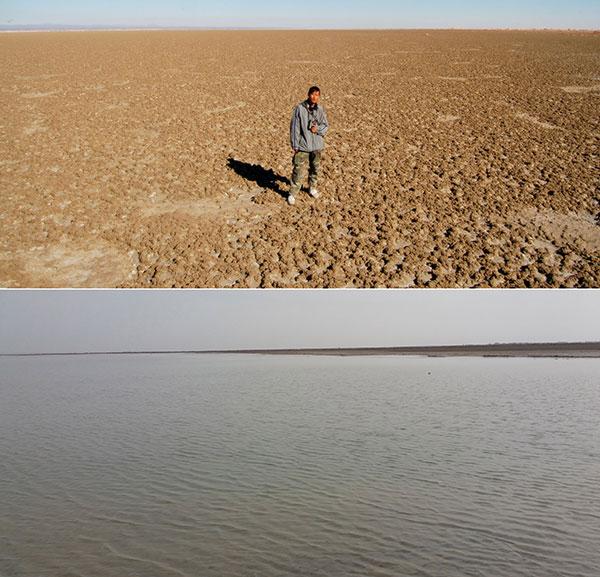 Li Fei, estudante da Universidade Agrícola de Pequin, estuda o lago Hr em 2007. Em baixo, o lago no dia 19 de março deste ano.