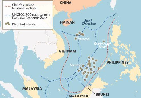 Localização dos territórios em disputa no Mar da China Meridional