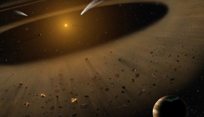 Ilustração dos detritos em torno da estrela Epsilon Eridani