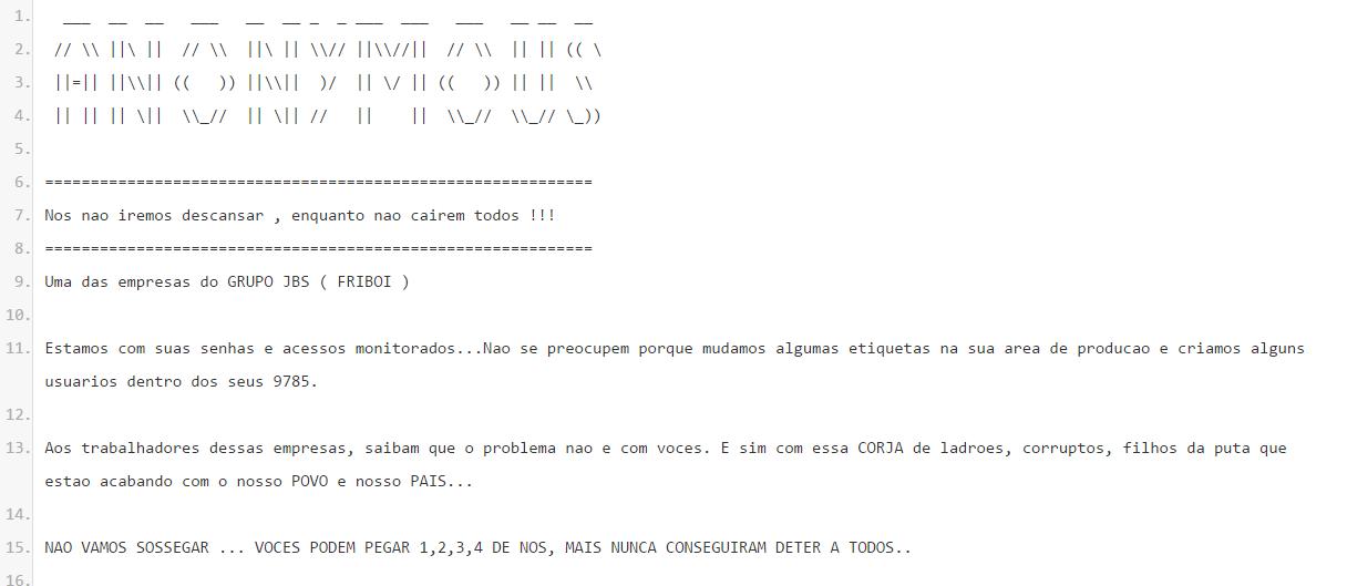 Mensagem do grupo ativista hacker após notícia de invasão aos sistemas da JBS