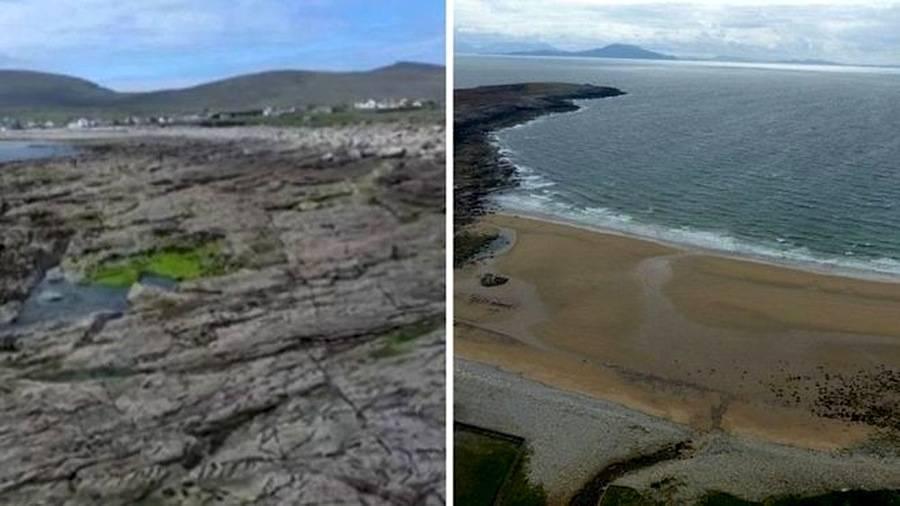 O antes e depois da praia de Dooagh: à esquerda, como ela ficou após as tempestades de 1984; à direita, a nova praia que surgiu no local.