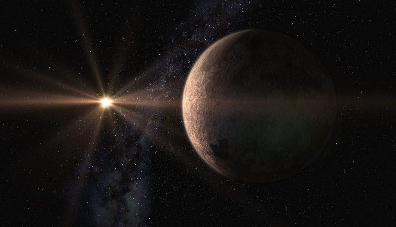 Impressão artística da super-Terra GJ625b e da sua estrela-mãe