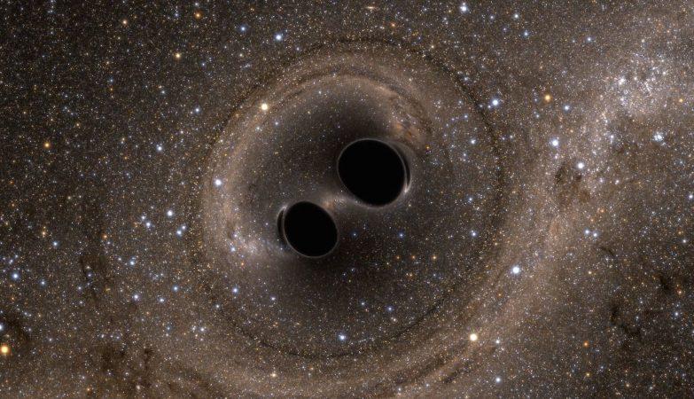 Quando dois buracos negros colidem, forma-se ondas gravitacionais no próprio espaço