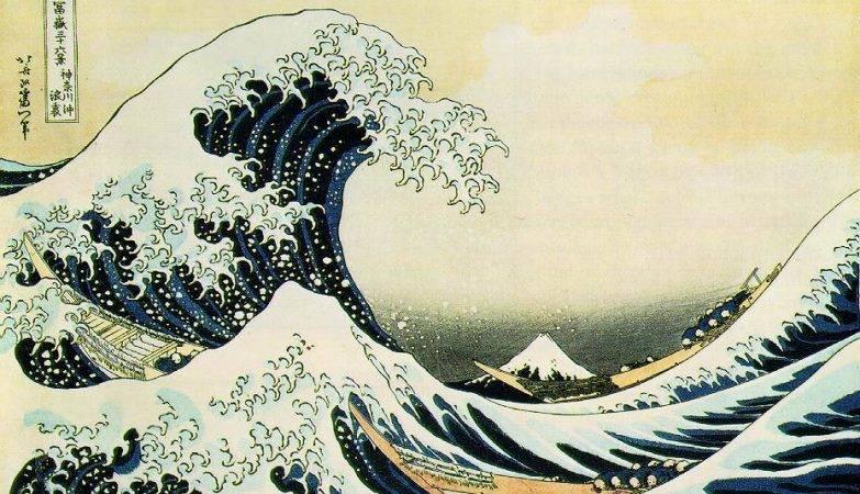 Debaixo da Onda de Kanagawa, ilustração de Katsushika Hokusai, 1823.