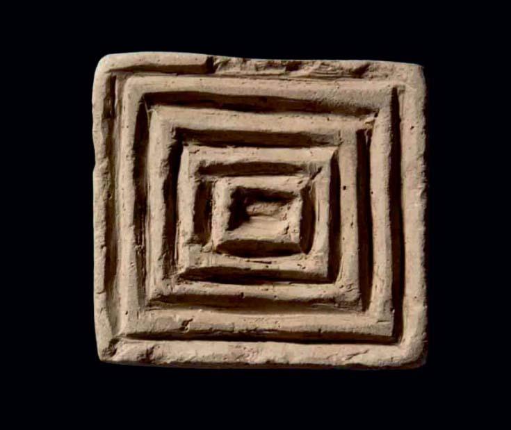 Selo decorativo de terracota encontrado na cidade antiga de Xarab-I Kilashin, no Curdistão iraquiano