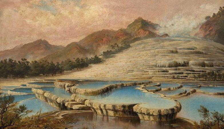 Pintura dos terraços branco e rosa do Lago Rotomahana