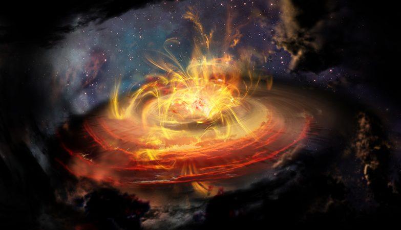 Impressão artística das linhas do campo magnético muito perto de uma jovem protoestrela emergente