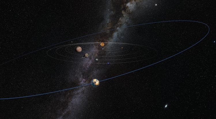 O objeto misterioso do tamanho de Marte está ilustrado como tendo uma órbita larga, bem além de Plutão, nesta impressão artística