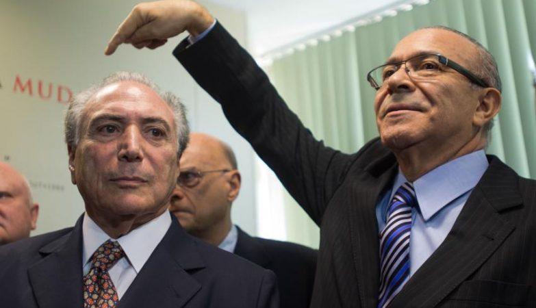 Michel Temer e Eliseu Padilha durante a apresentação de propostas do PMDB