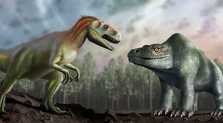 Ilustração da forma como os paleontólogos antigos acreditavam que o Megalosaurus era (direita), em comparação com o que se acha agora sobre o dinossauro (esquerda).