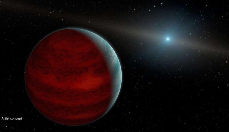 Impressão artística de um exoplaneta longe da sua estrela