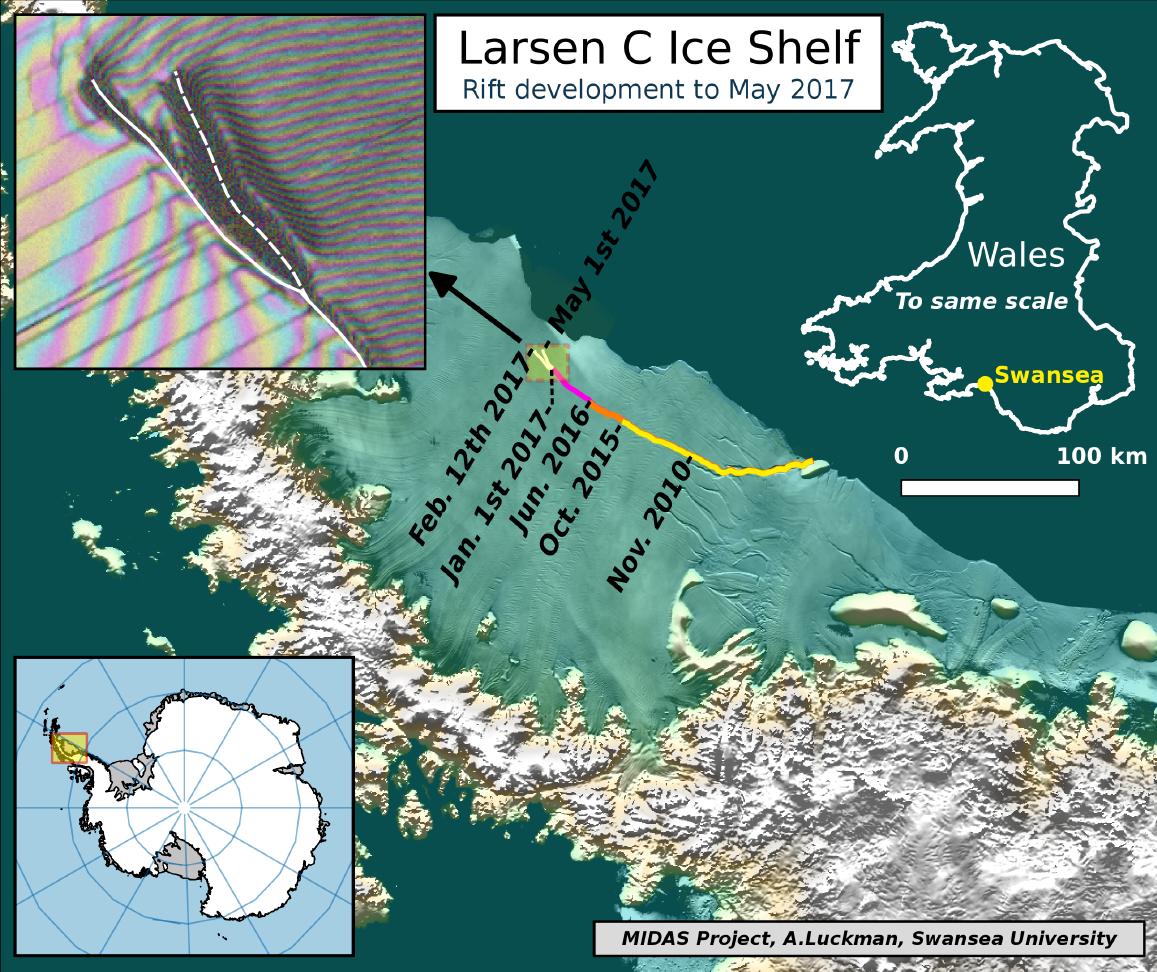Imagem de satélite mostra a região da plataforma Larsen C que ameaça se separar da Antártida, vista em 1º de Maio