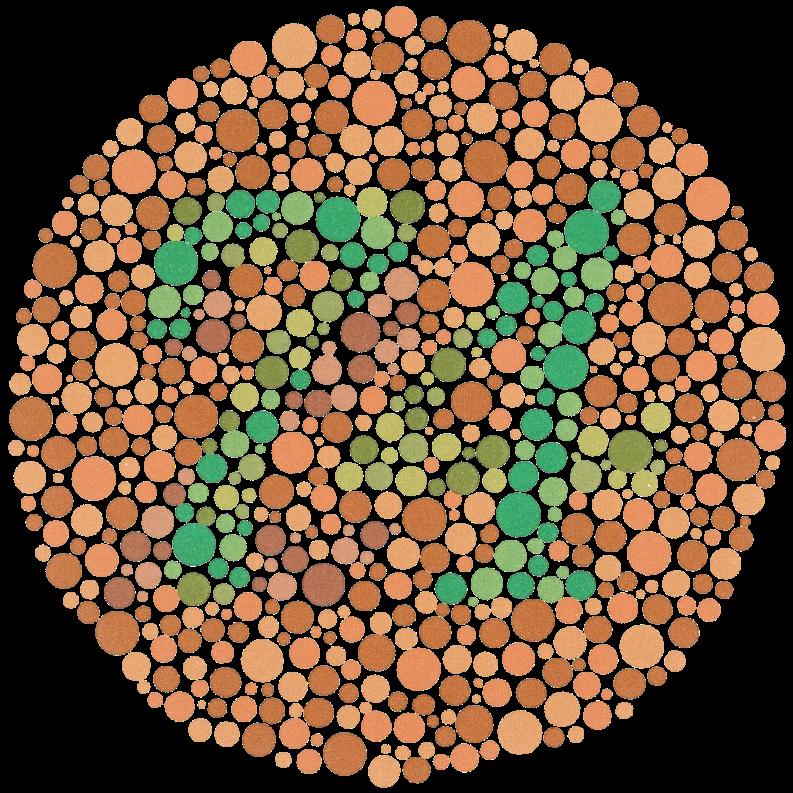 """ee69dcb9244ae Muitos portadores de daltonismo encontram na figura o número """"21"""".  Indivíduos com cegueira cromática não encontram nenhum número."""